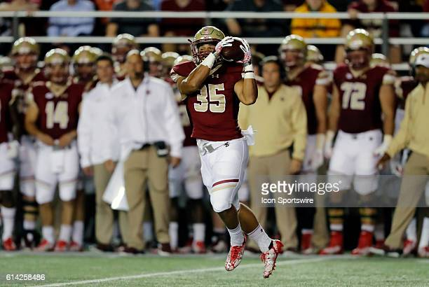 Boston College running back Tyler Rouse catches a screen pass The Clemson Tigers defeated the Boston College Eagles 5610 in an ACC NCAA Division 1...