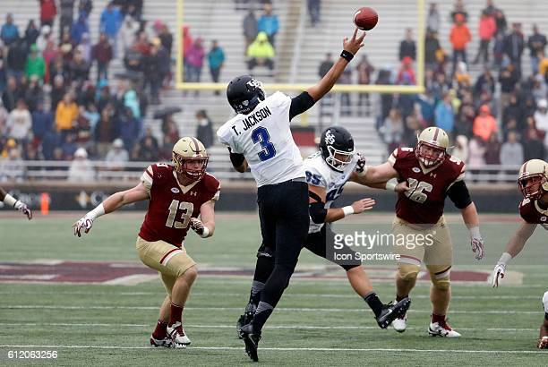 Buffalo Bulls quarterback Tyree Jackson fires a bomb The Boston College Eagles and the State University of New York at Buffalo Bulls in an NCAA...