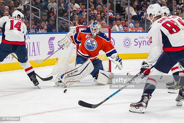 Cam Talbot of the Edmonton Oilers makes a save during the Washington Capitals game versus the Edmonton Oilers at Rogers Place in Edmonton Alberta