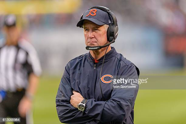 Chicago Bears Head Coach John Fox during an NFL football game between the Detroit Lions and the Chicago Bears at Solider Field in Chicago IL The...