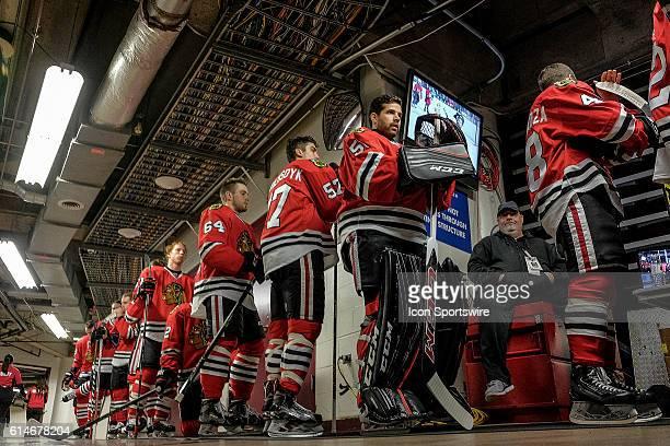Chicago Blackhawks Defenceman Trevor van Riemsdyk Chicago Blackhawks Goalie Corey Crawford Chicago Blackhawks Center Vincent Hinostroza Chicago...