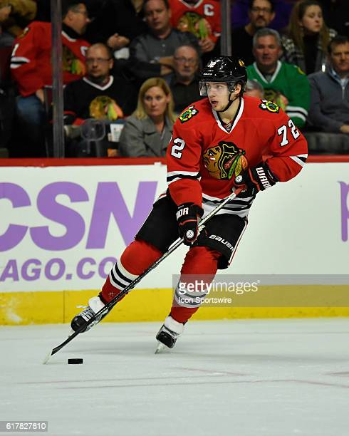 Chicago Blackhawks left wing Artemi Panarin in action in the second period during a game between the Calgary Flames and the Chicago Blackhawks at the...