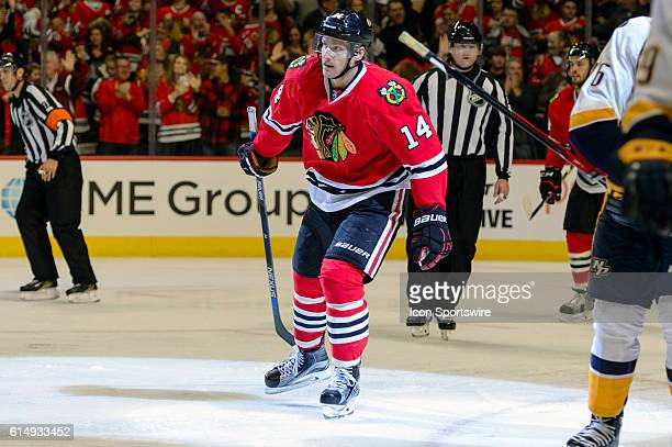 Chicago Blackhawks Left Wing Richard Panik celebrates his second goal in the 3rd period during a game between the Nashville Predators and the Chicago...