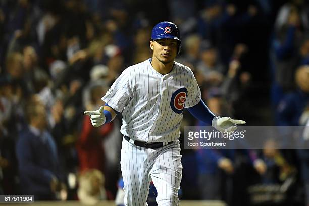 Chicago Cubs catcher Willson Contreras celebrates his home run during the fourth inning in game six of the National League Championship Series...