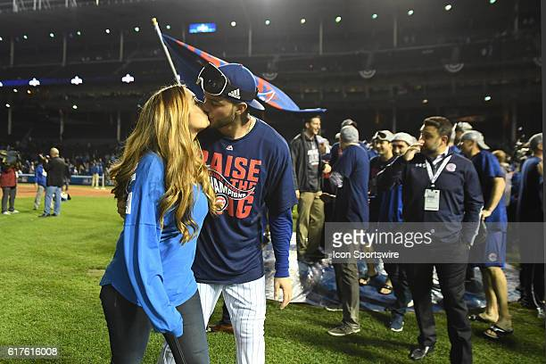 Chicago Cubs third baseman Kris Bryant celebrates after their victory for the National League Championship between the Los Angeles Dodgers and the...