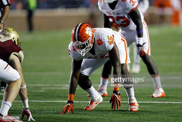 Clemson Tigers defensive end Chris Register gets set to rush The Clemson Tigers defeated the Boston College Eagles 5610 in an ACC NCAA Division 1...
