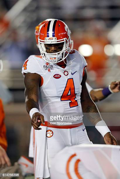 Clemson Tigers quarterback Deshaun Watson points out an offensive mark in warm up The Clemson Tigers defeated the Boston College Eagles 5610 in an...
