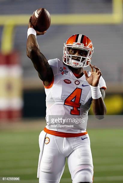 Clemson Tigers quarterback Deshaun Watson warms up The Clemson Tigers defeated the Boston College Eagles 5610 in an ACC NCAA Division 1 football game...