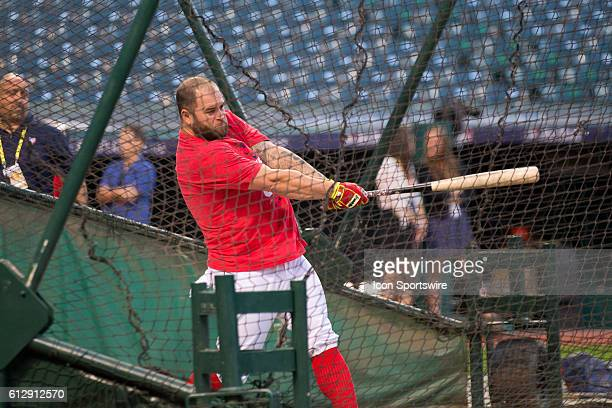Cleveland Indians First base Mike Napoli [6085] in the batting cage as the Cleveland Indians workout in preparation for the American League...