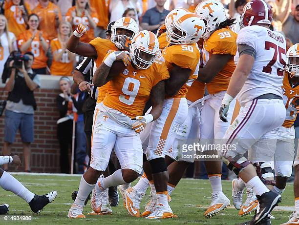 Derek Barnett Tennessee Volunteers defensive linemen after making an interception during the game between the Alabama Crimson Tide and Tennessee...