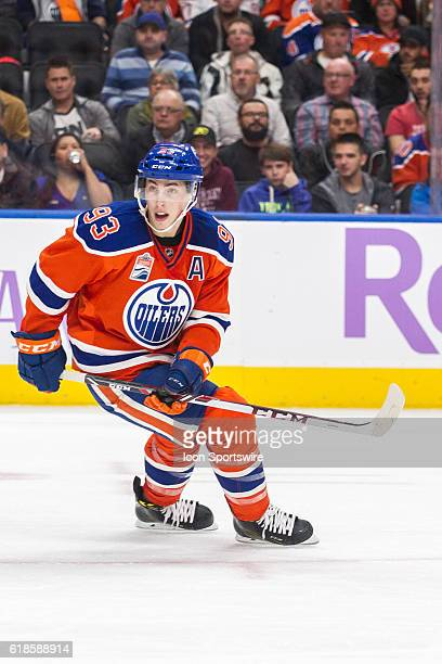Forward Ryan Nugent Hopkins of the Edmonton Oilers in action during the Washington Capitals game versus the Edmonton Oilers at Rogers Place in...