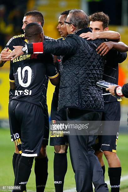 Georges Leekens head coach of Sporting Lokeren Jaja Coelho forward of Sporting Lokeren scores and celebrates pictured during the Jupiler Pro League...