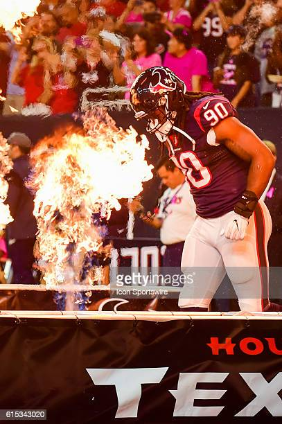 Houston Texans Defensive End Jadeveon Clowney is introduced before the NFL game between the Indianapolis Colts and Houston Texans at NRG Stadium...