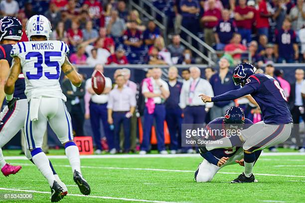Houston Texans Place Kicker Nick Novak kicks a field goal during the NFL game between the Indianapolis Colts and Houston Texans at NRG Stadium...