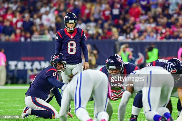 Houston Texans Place Kicker Nick Novak lines up for a field goal as Houston Texans Punter Shane Lechler holds during the NFL game between the...