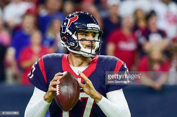 Houston Texans Quarterback Brock Osweiler throws from his own endzone during the NFL game between the Indianapolis Colts and Houston Texans at NRG...