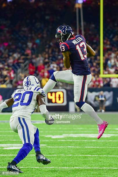 Houston Texans Wide Receiver Braxton Miller makes a big second half catch as Indianapolis Colts Cornerback Darius Butler defends during the NFL game...