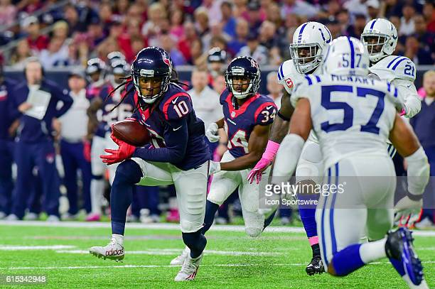 Houston Texans Wide Receiver DeAndre Hopkins looks for running room after catch during the NFL game between the Indianapolis Colts and Houston Texans...