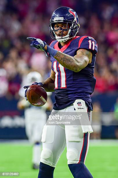 Houston Texans Wide Receiver Jaelen Strong celebrates a long second half reception during the NFL game between the Indianapolis Colts and Houston...