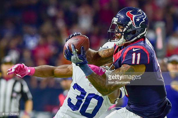Houston Texans Wide Receiver Jaelen Strong hauls in a late second half reception for a long gain as Indianapolis Colts Cornerback Rashaan Melvin...