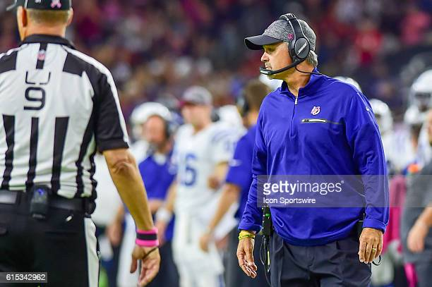 Indianapolis Colts head coach Chuck Pagano during the NFL game between the Indianapolis Colts and Houston Texans at NRG Stadium Houston Texas