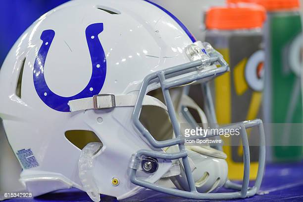 Indianapolis Colts helmet and Gatorade bottles during the NFL game between the Indianapolis Colts and Houston Texans at NRG Stadium Houston Texas