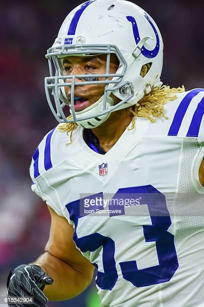 Indianapolis Colts Linebacker Edwin Jackson during the NFL game between the Indianapolis Colts and Houston Texans at NRG Stadium, Houston, Texas.
