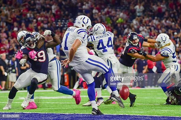 Indianapolis Colts Punter Pat McAfee punts from his own endzone during the NFL game between the Indianapolis Colts and Houston Texans at NRG Stadium...