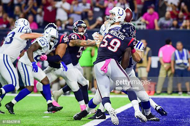 Indianapolis Colts Quarterback Andrew Luck throws from the pocket during the NFL game between the Indianapolis Colts and Houston Texans at NRG...