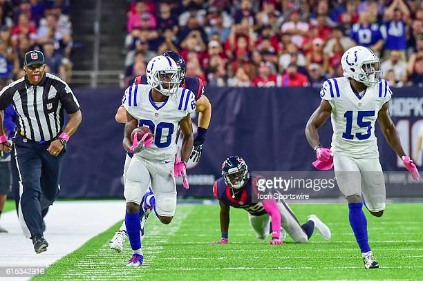 Indianapolis Colts Wide Receiver Chester Rogers for a moderate gain during the NFL game between the Indianapolis Colts and Houston Texans at NRG...