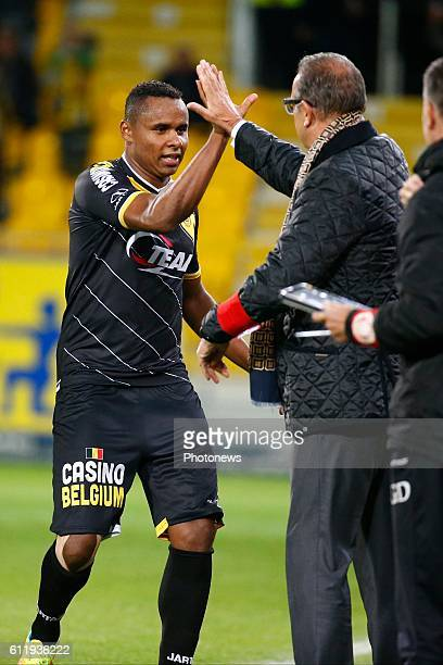 Jaja Coelho forward of Sporting Lokeren scores and celebrates pictured during the Jupiler Pro League match between Sporting Lokeren and Kv Kortrijk...