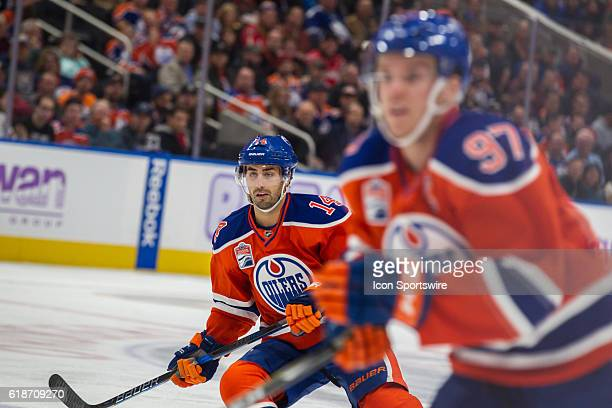 Jordan Eberle looks on as he attacks the zone with Connor McDavid of the Edmonton Oilers during the Washington Capitals game versus the Edmonton...