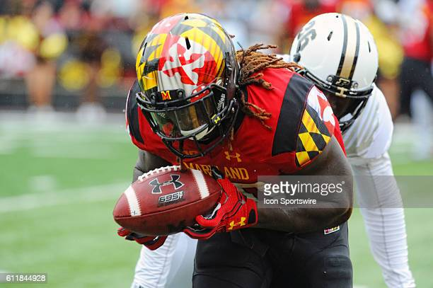 Maryland Terrapins running back Kenneth Goins Jr catches a two point conversion pass in the first quarter against Purdue Boilermakers linebacker...