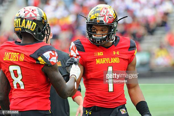 Maryland Terrapins wide receiver D.J. Moore and wide receiver Levern Jacobs warm up at Capital One Field in College Park, MD. Where the Maryland...