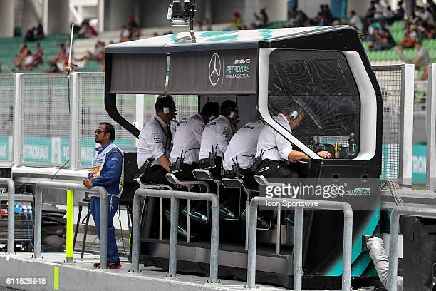 Mercedes AMG Petronas F1 Team in pitfall during the saturday's practice session of the Formula 1 Petronas Malaysia Grand Prix held at Sepang...