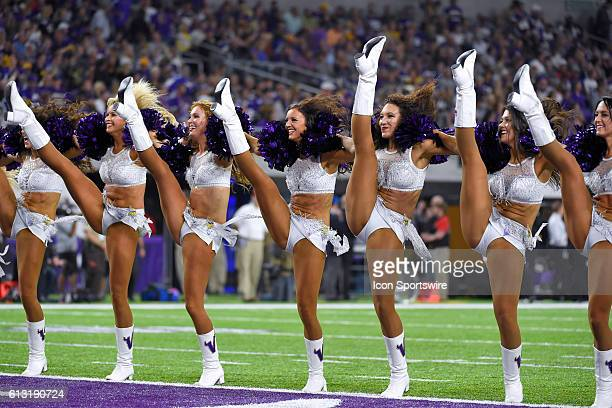 Minnesota Vikings cheerleaders perform in action during a Monday Night Football game between the Minnesota Vikings and the New York Giants at US Bank...