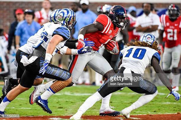 Mississippi Rebels wide receiver AJ Brown attempts to elude the Memphis Tigers defense after a reception during the Ole Miss Rebels 4828 win over the...