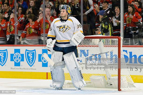 Nashville Predators Goalie Marek Mazanec in the 1st period during a game between the Nashville Predators and the Chicago Blackhawks at the United...
