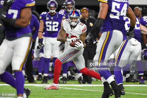 New York Giants Wide Receiver Odell Beckham Jr in action during a Monday Night Football game between the Minnesota Vikings and the New York Giants at...