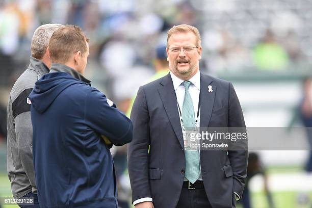 New York Jets GM Mike Maccagnan talks to Seattle coaches prior to the NY Jets vs Seattle Seahawks game held at MetLife Stadium in East Rutherford NJ