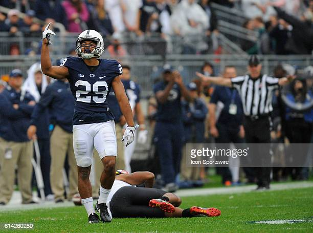 Penn State CB John Reid celebrates after leaping to defend as pass intended for Maryland WR DJ Moore The Penn State Nittany Lions defeated the...