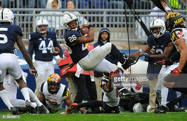 Penn State RB Saquon Barkley does a midair 360 degree spin move to avoid a tackle during a run The Penn State Nittany Lions defeated the Maryland...