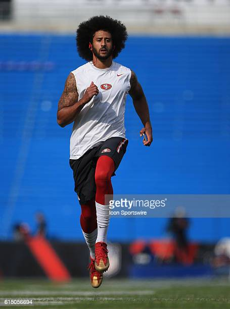San Francisco 49ers quarterback Colin Kaepernick warms up prior to the start of a NFL game between the San Francisco 49ers and Buffalo Bills at New...