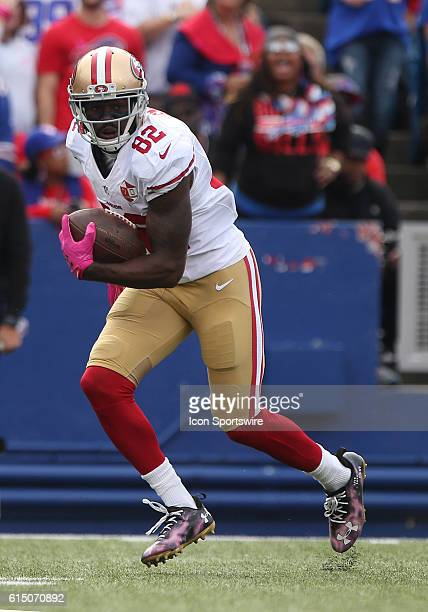 San Francisco 49ers wide receiver Torrey Smith runs after a catch during a NFL game between the San Francisco 49ers and Buffalo Bills at New Era...