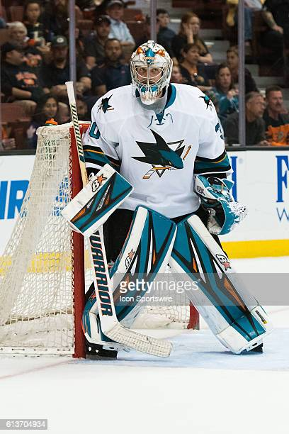 San Jose Sharks goalie Aaron Dell during the 2nd period of a preseason NHL game between the San Jose Sharks and the Anaheim Ducks at the Honda Center...