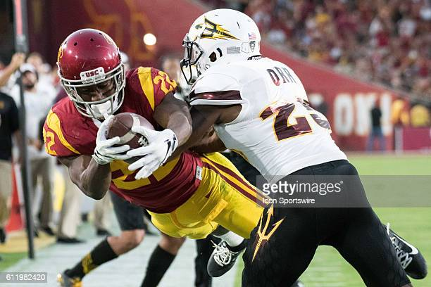 Southern California tailback Justin Davis dives for a touchdown that was overruled on replay during an NCAA football game between the Arizona State...