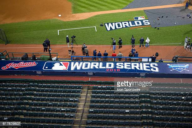 The Cleveland Indians logo on top of the visitors dugout during workouts in preparation for the 2016 World Series between the Chicago Cubs and...