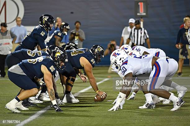 The FIU line is set for the snap in the third quarter as the Louisiana Tech Bulldogs defeated the FIU Golden Panthers 4424 at FIU Stadium in Miami...