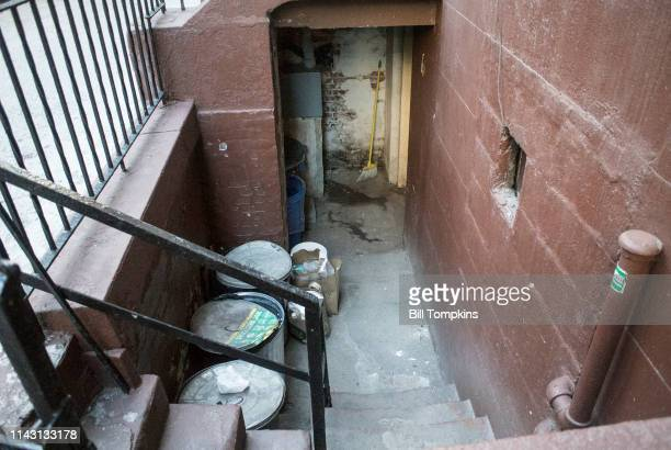 The home of the Marx Brothers at 179 East 93rd Street They lived here from 1895 until 1909 This is the basement entrance Photographed October 2016 in...