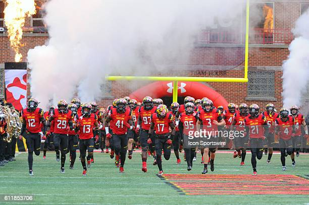 The Maryland Terrapins take the field for the game against the Purdue Boilermakers at Capital One Field in College Park, MD. Where the Maryland...